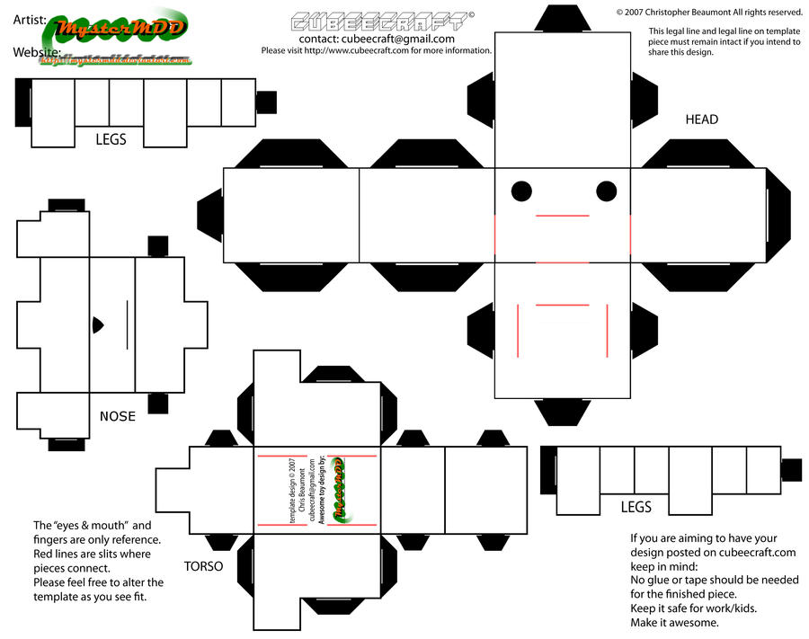 cubeecraft quadroped \'dog\' template by MysterMDD on DeviantArt