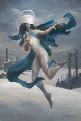 Shelegiel, Angel of Snow by PeteMohrbacher