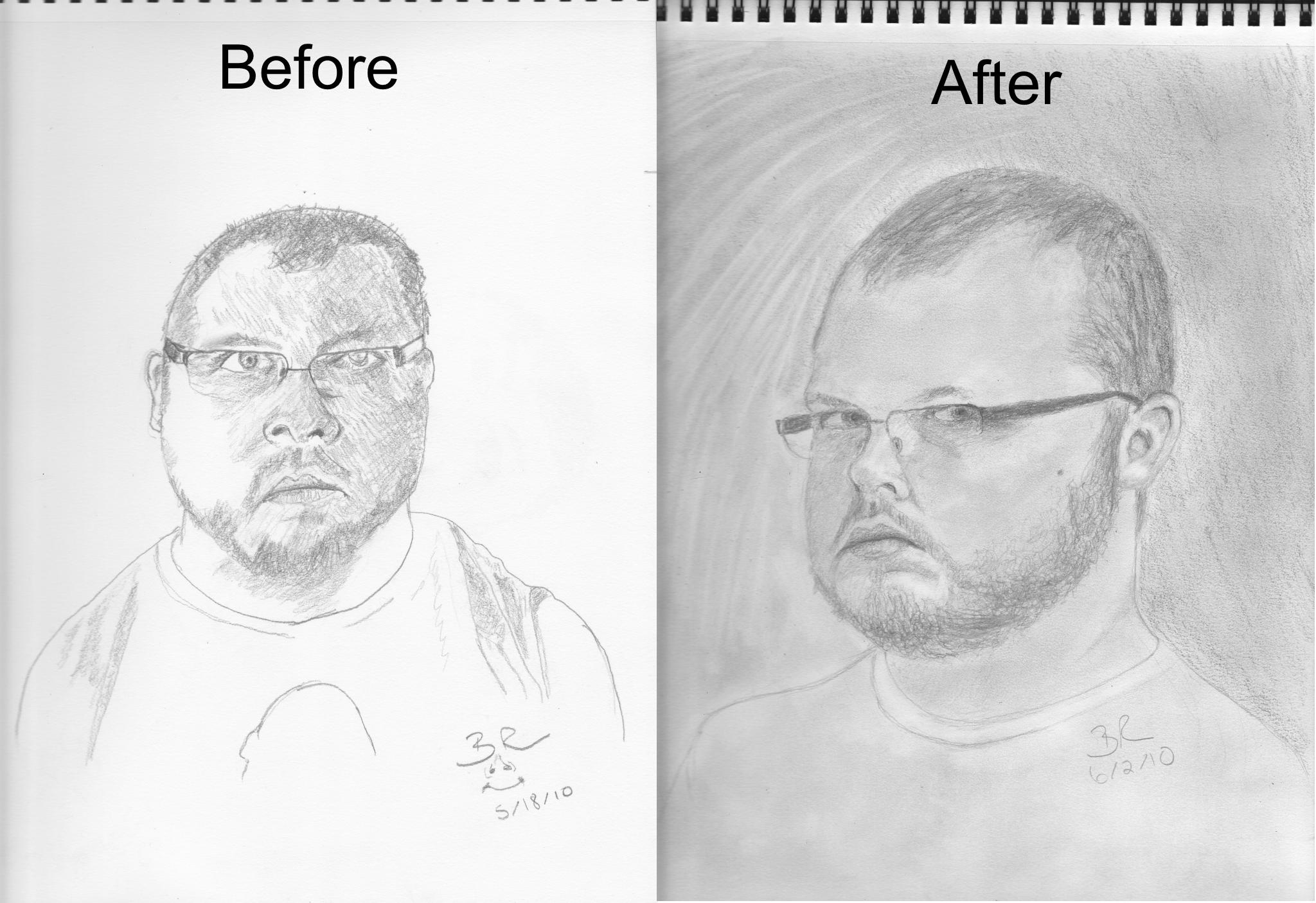 Self portrait before 39 n after by mvision on deviantart for Bett zeichnung