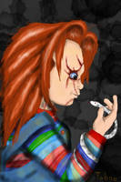 Chucky and his beloved pet by Taboochildsplay