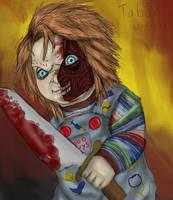 Childsplay3: Sliced faced Chucky by Taboochildsplay