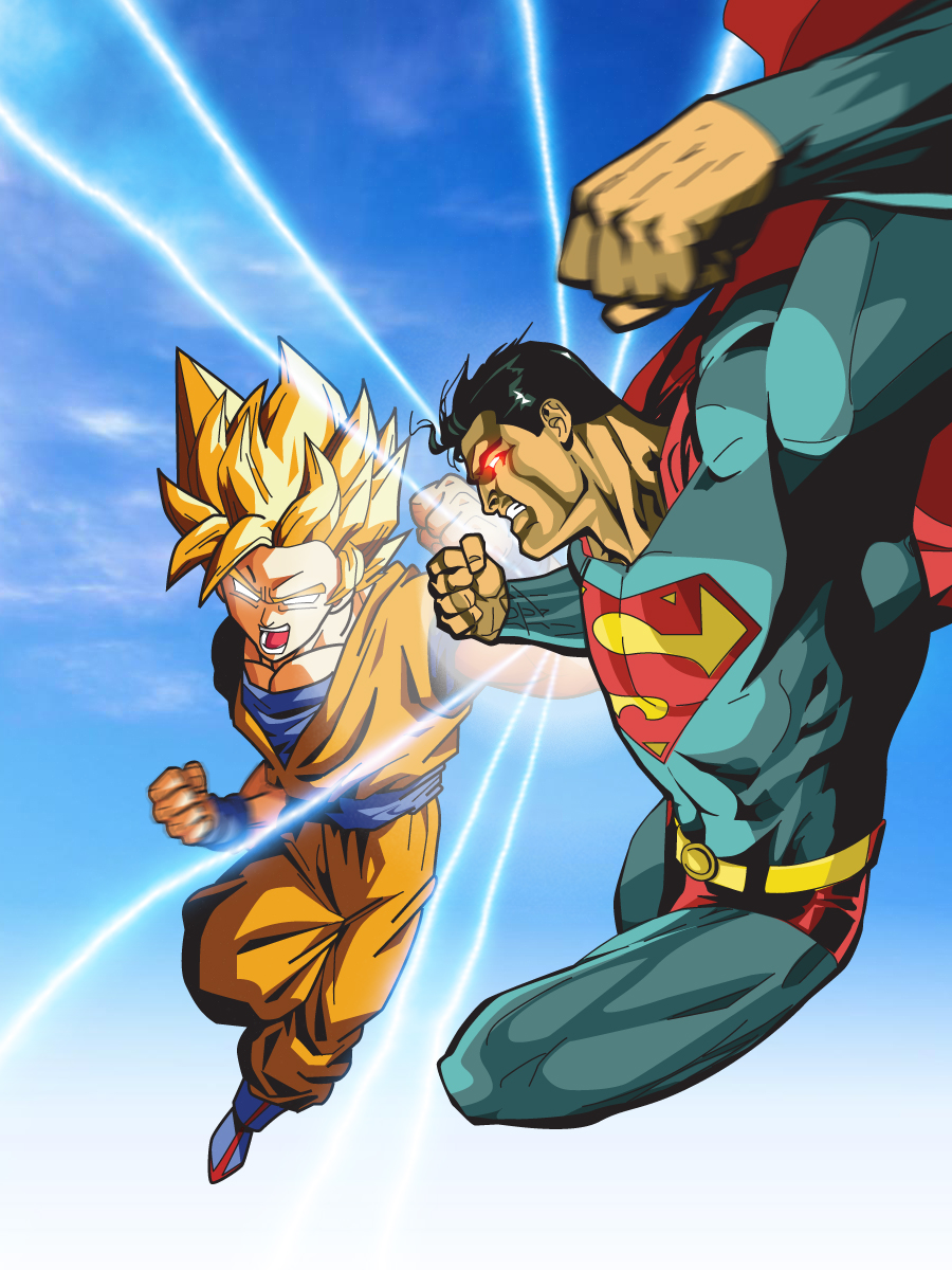 superman vs goku by xikinight