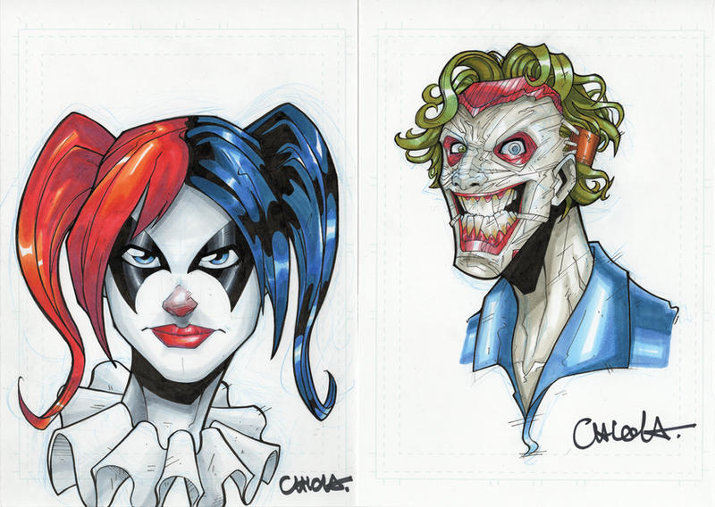 New 52 Harley Quinn And Joker Head sketch commission...