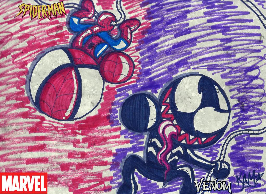 Spidey and Venom by RageTheHedgehog