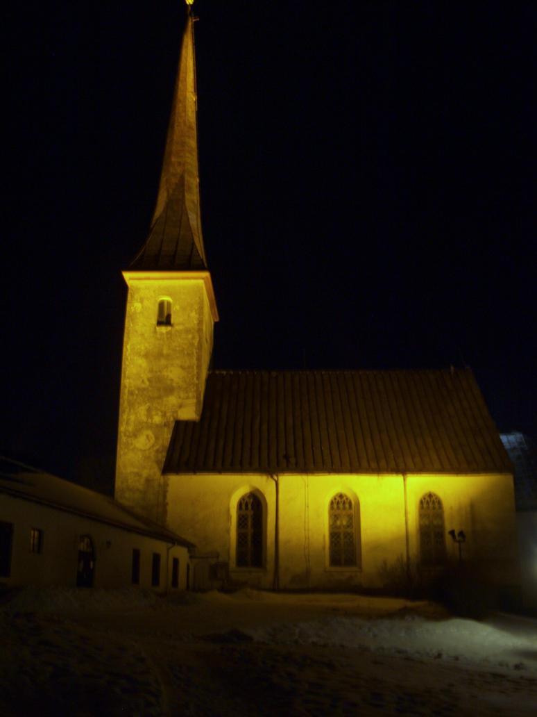 Rakvere church in night by rihosk