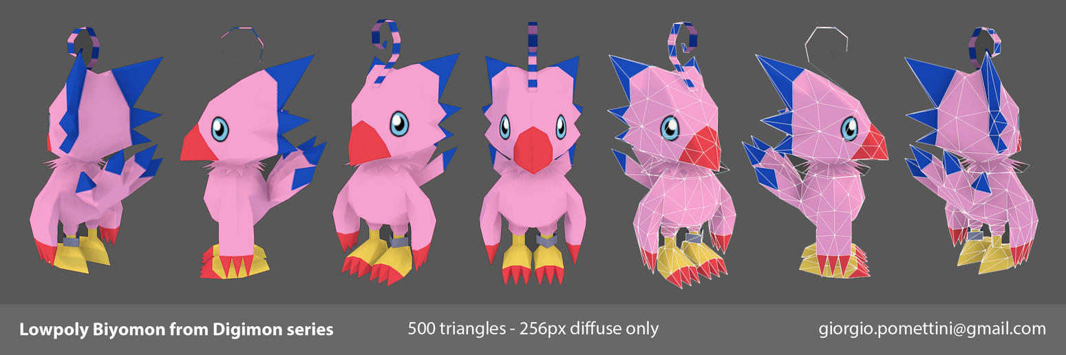 Lowpoly Biyomon from Digimon by MightyDargor