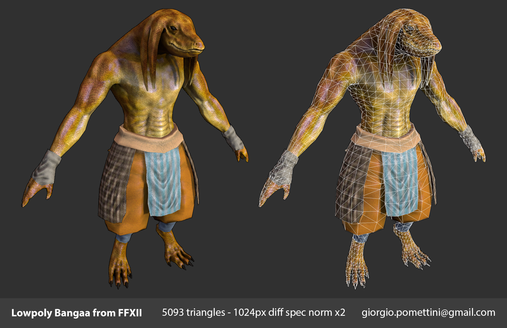 Lowpoly Bangaa from Final Fantasy by MightyDargor