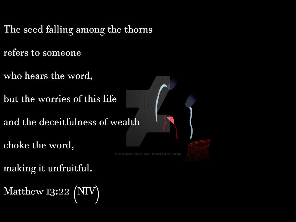 Matthew 13:22 (NIV) by Moonspirit10