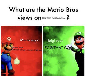 Mario Bros. Views on Cog Toon relationships by SeaSalty101