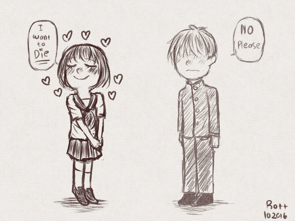 Suicidal girl and her imaginary boyfriend. by Rott000
