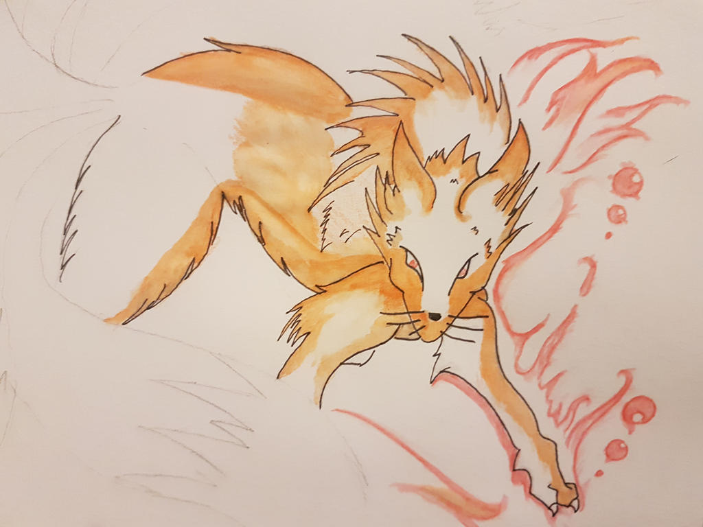 9 tails water colour (work in progress) by Agentnorth1
