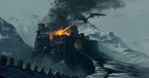 Castle in fire