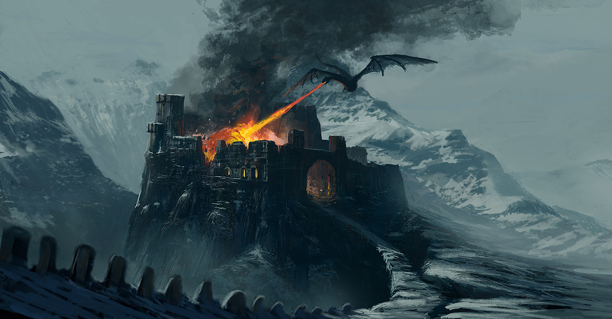 Castle in fire by Edli