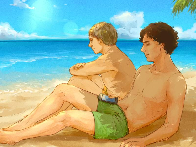 Johnlock at the beach by mformadness