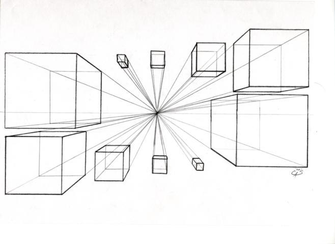 Single Line Box Art : Boxes in one point perspective by brigettemora on deviantart