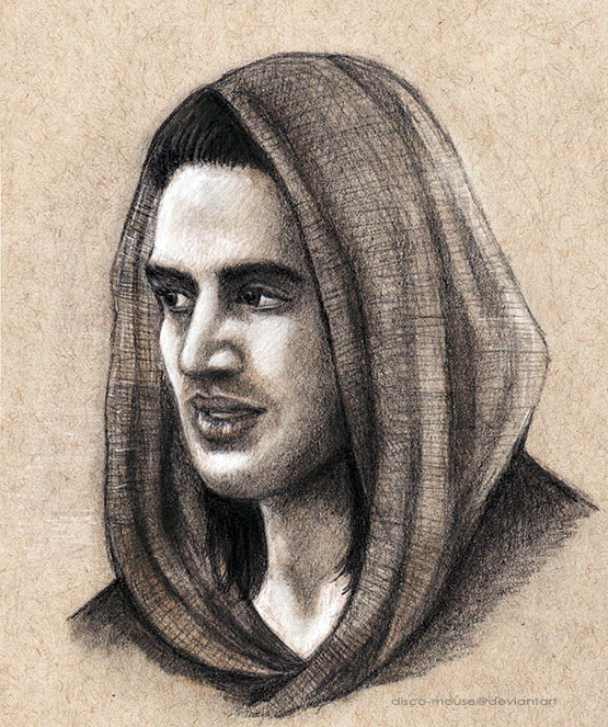 Spartacus' Nasir in Black and White Charcoal by disco-mouse