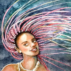 Pink Braids Watercolor