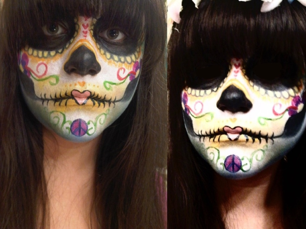 Hippie inspired Day of The Dead face paint by greengal14