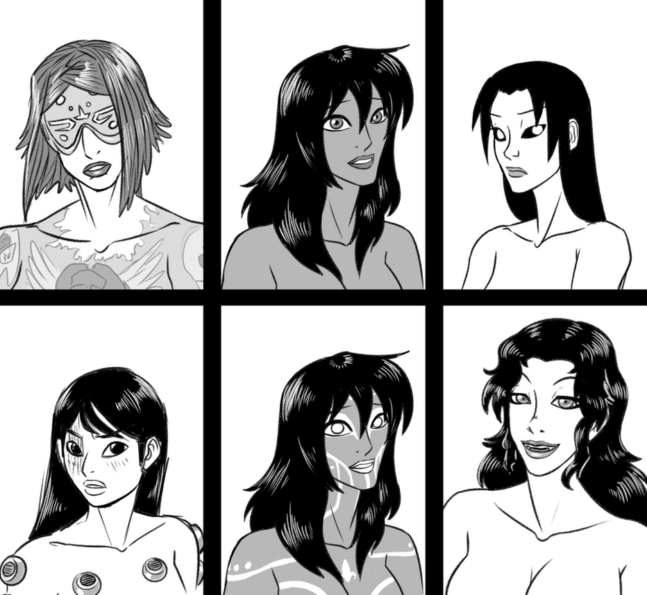 Female Faces by pyrasterran
