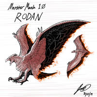 Kaiju Monster March 10 - Rodan by pyrasterran