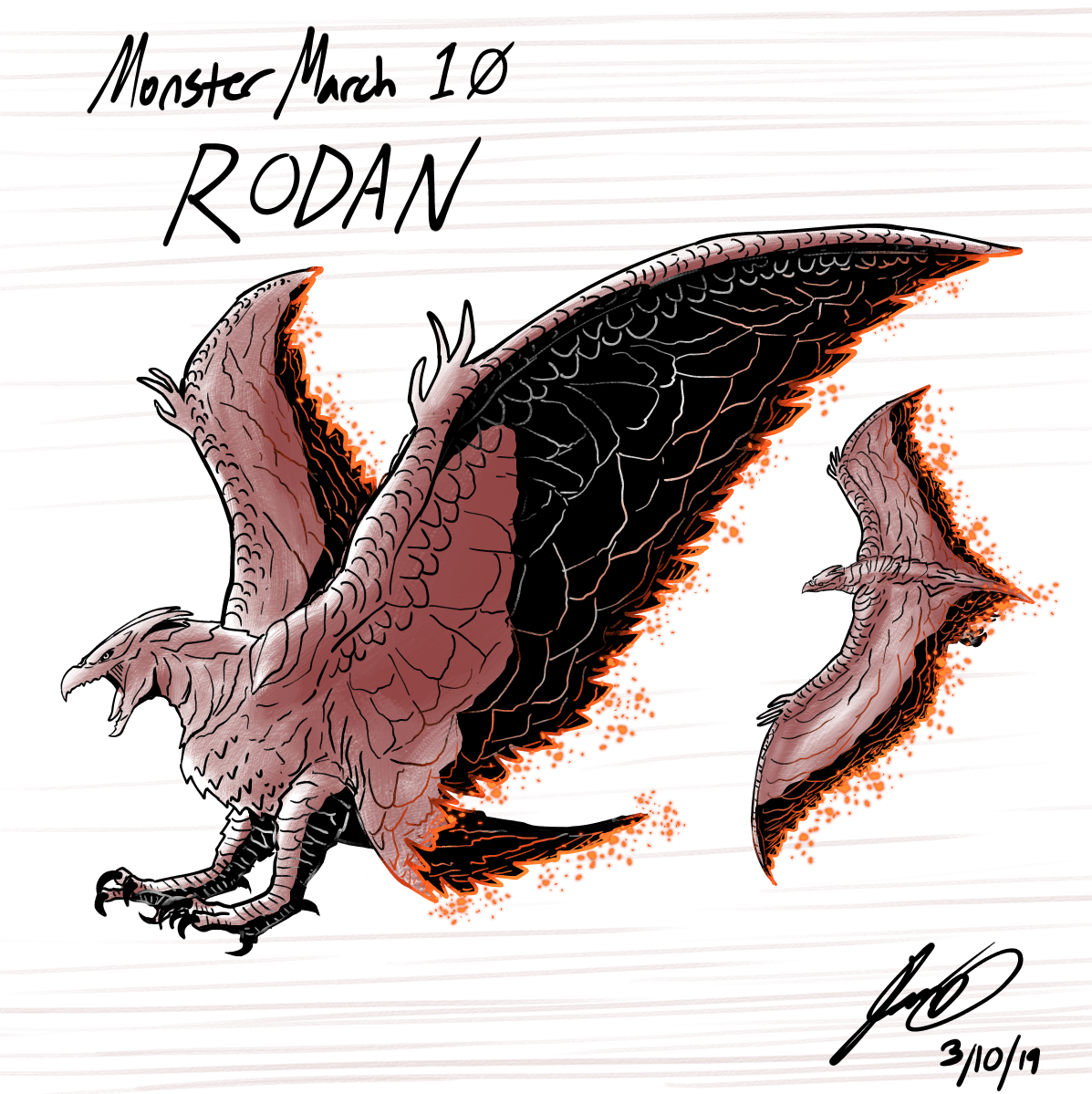Kaiju Monster March 10 - Rodan by pyrasterran