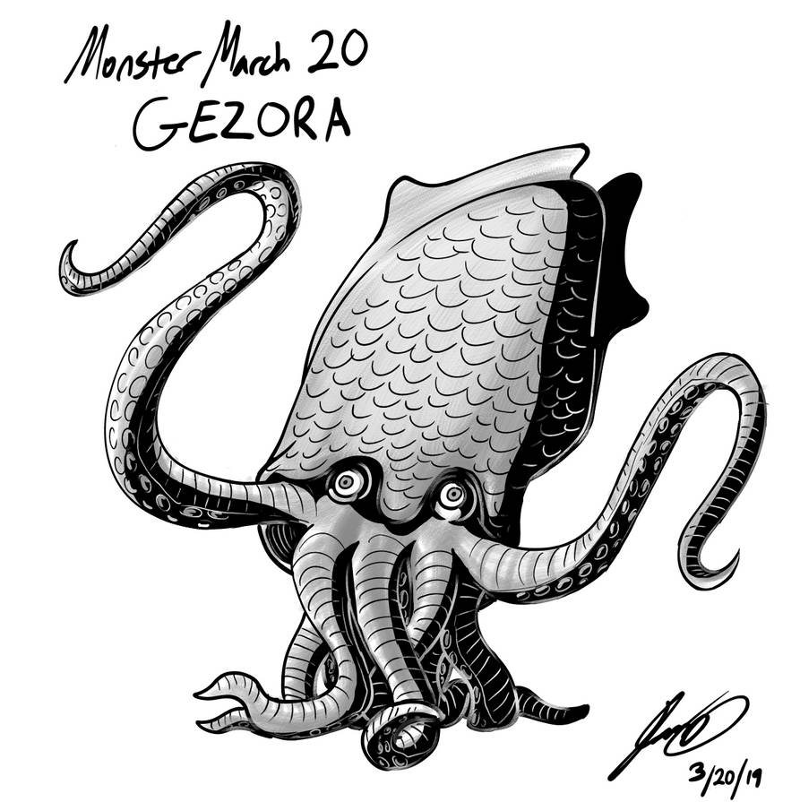 Kaiju Monster March 20 - Gezora by pyrasterran