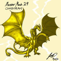 Kaiju Monster March 29 - Ghidorah by pyrasterran