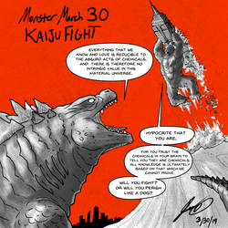 Kaiju Monster March 30 - Kaiju Fight by pyrasterran