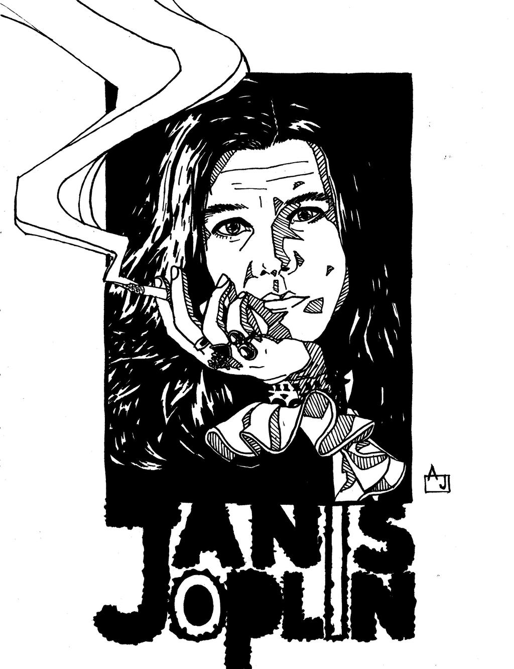 It is an image of Clever Janis Joplin Drawing