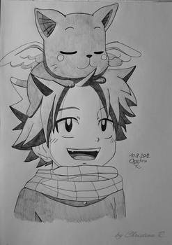 young Natsu with young Happy
