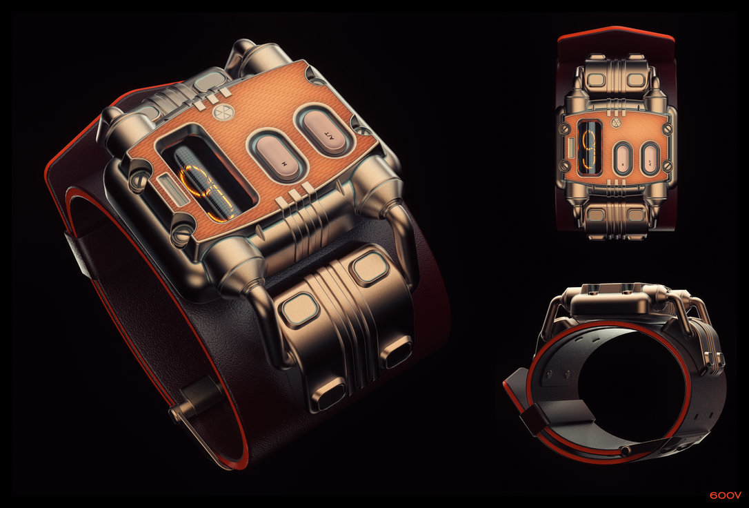 Nuclear-Powered Nixie Wristwatch by 600v