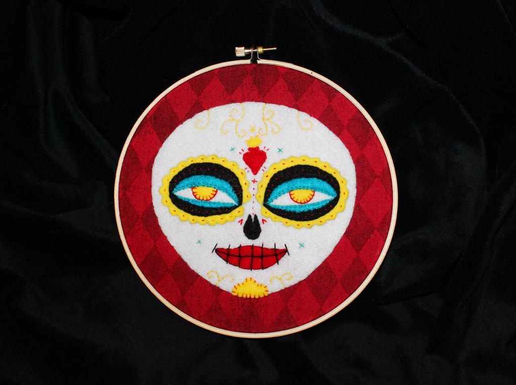 La Muerte Sugar Skull Hoop by FangsAndNeedles