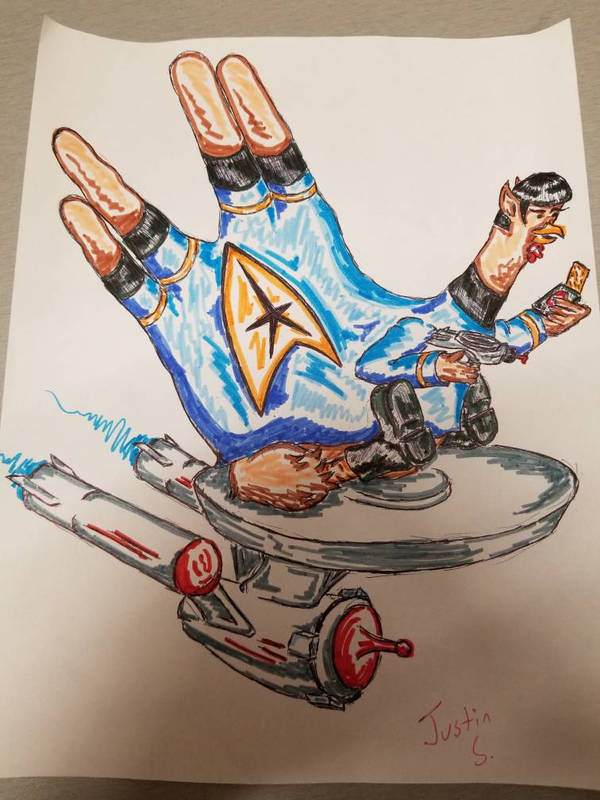 Trekky turkey Hand. live long and prosper by Bubble-0f-d00m