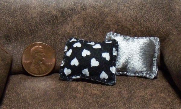 Miniature Double Sided Hearts and Silver Pillows by Kyle-Lefort
