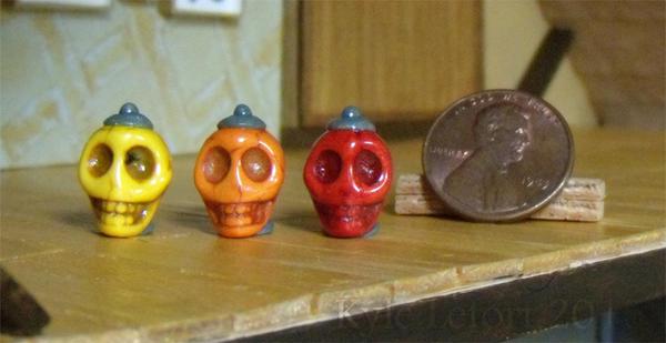 Red Orange Yellow Skull Miniature Potion Bottles by Kyle-Lefort