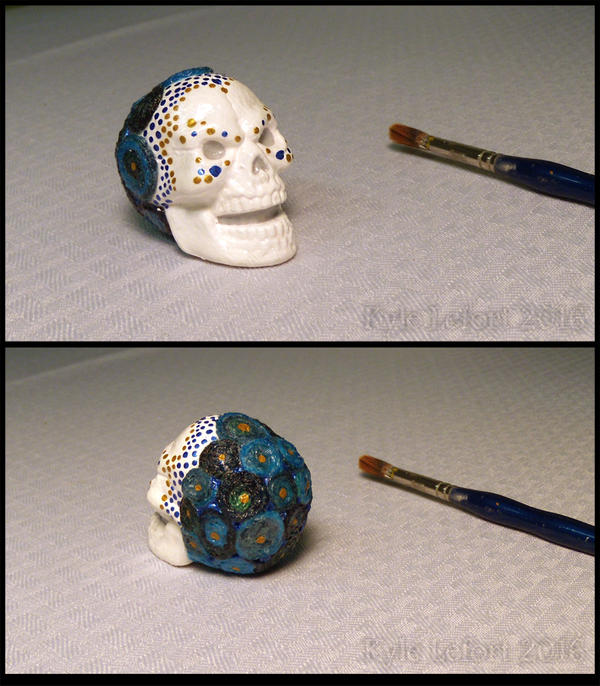 Fancy skull 2016 Blue and Gold Tiny Table Decor by Kyle-Lefort