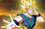 SSJ Goku against Kid Buu