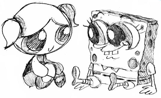 Bubbles and Spongebob Love I by dwightyoakamfan