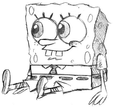 Spongebob drawing in pencil