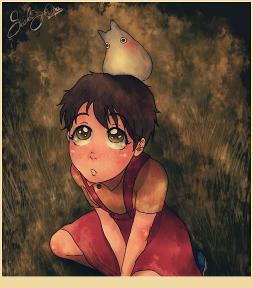 Satsuki and Little Totoro by dwightyoakamfan