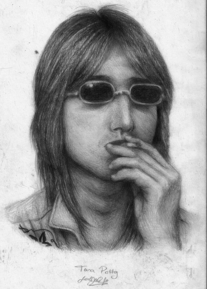 Tom Petty in Pencil n Charcoal by dwightyoakamfan