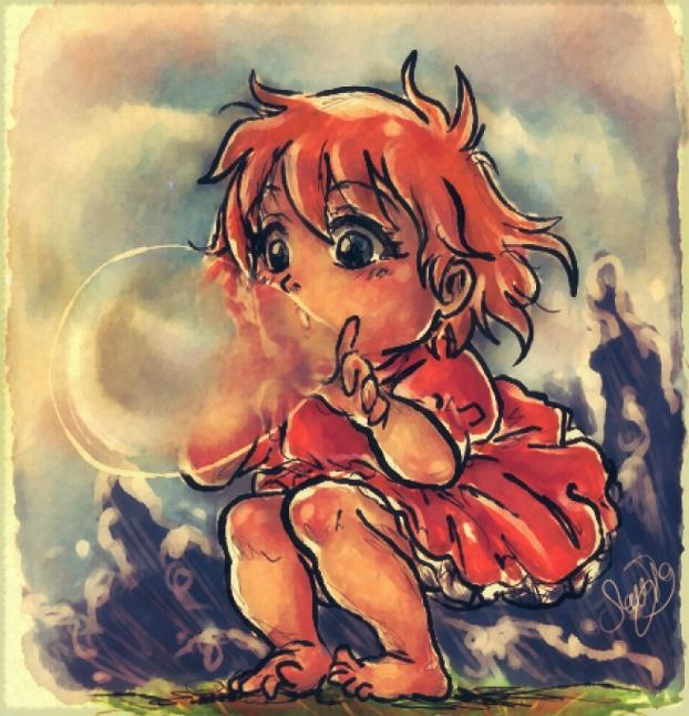 Ponyo on a Cliff .Bubble. by dwightyoakamfan
