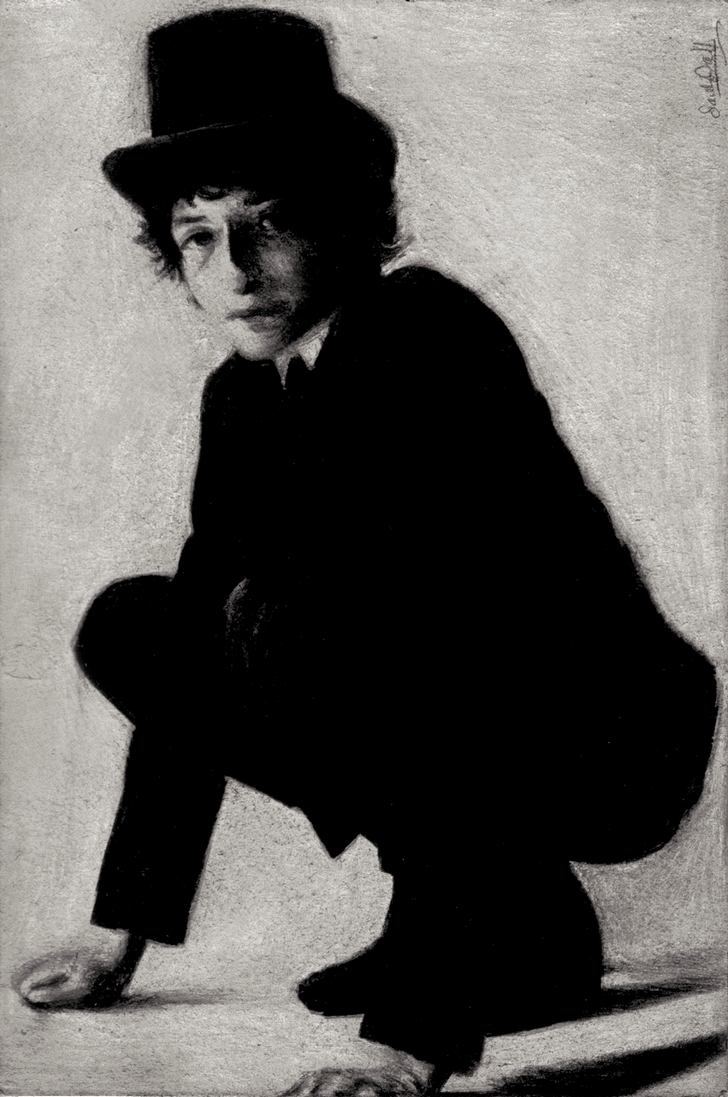 Bob Dylan Black-White Charcoal by dwightyoakamfan