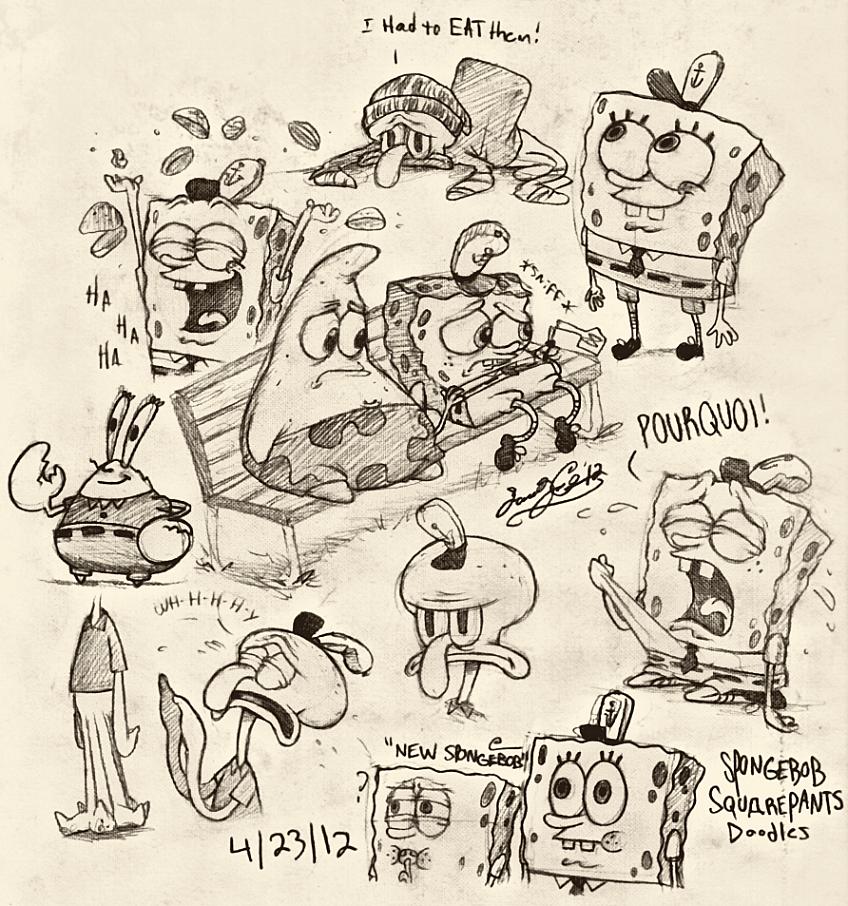Spongebob Pencil Sketches III by dwightyoakamfan
