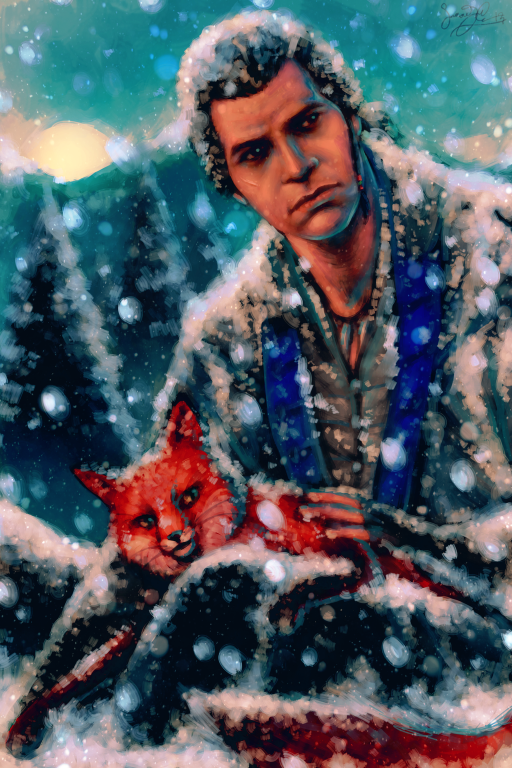 Connor Kenway with a Red Fox by dwightyoakamfan