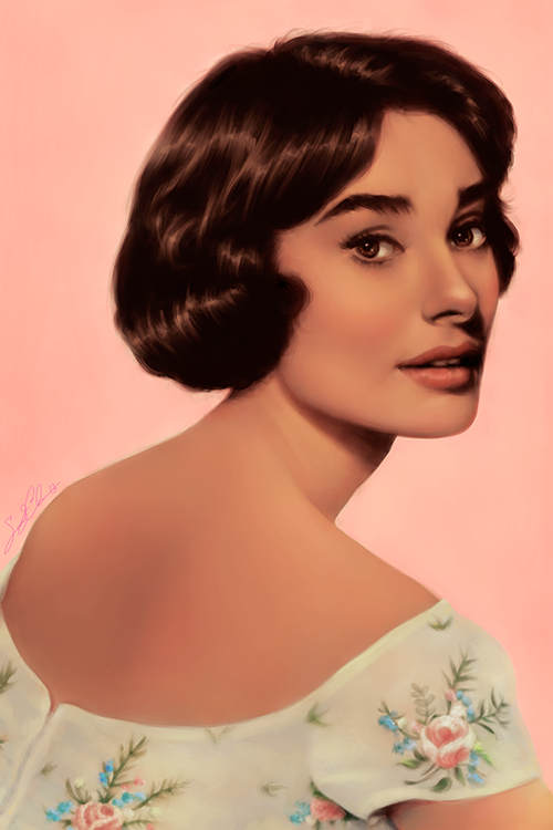 Painting of Audrey Hepburn in Pink Flower Dress
