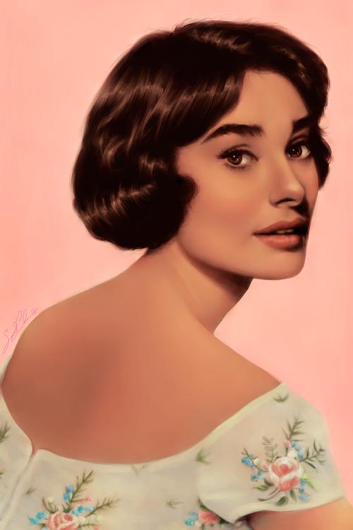 Painting of Audrey Hepburn in Pink Flower Dress by dwightyoakamfan