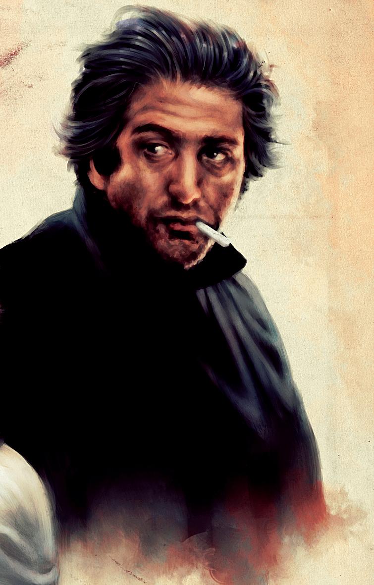 Ratso Rizzo painting (Part of Commission) by dwightyoakamfan