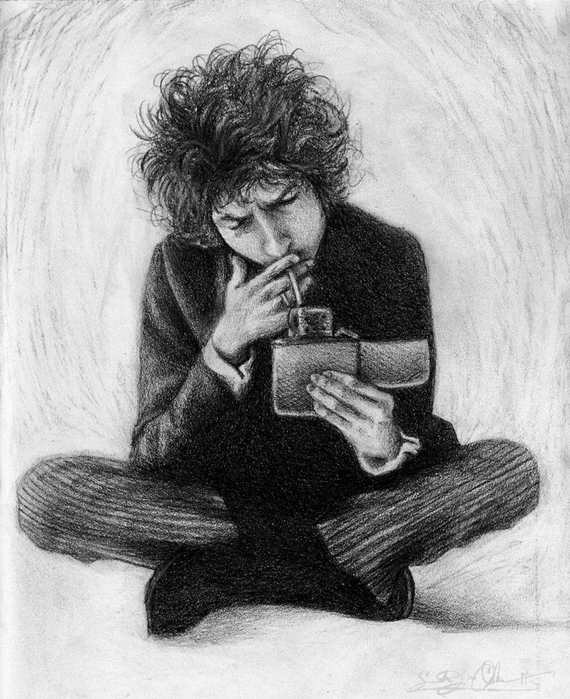 Bob Dylan Pencil and Graphite (2011) -Rescan- by dwightyoakamfan