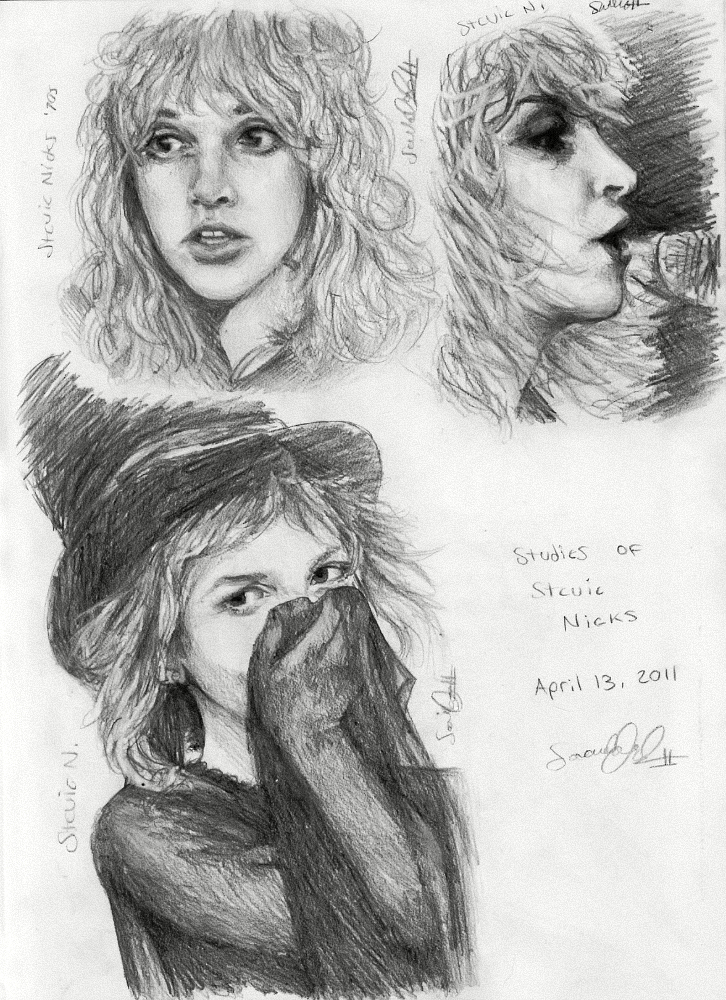 Pencil Studies of Stevie Nicks, 2011 by dwightyoakamfan